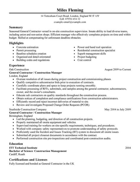 general resume template general contractor resume best template collection