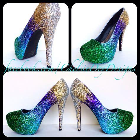 green glitter high heels ombre glitter high heels gold green royal by chelsiedeydesigns