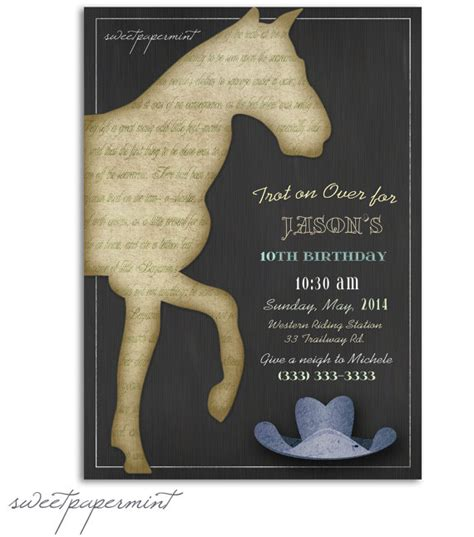 printable birthday invitations horse theme vintage horse child s boy birthday invitation card