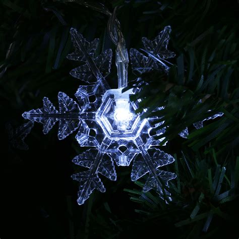 snowflake string lights outdoor 8 2ft solar powered 10led snowflake string light