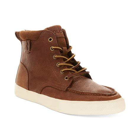 polo high top sneakers polo ralph tedd hi top sneakers in brown for