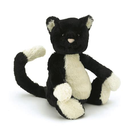 cat and jellycat bashful black and white cat cat and