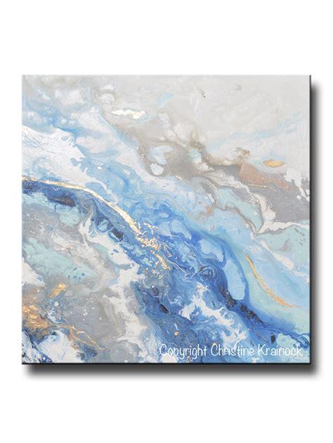 light blue wall art original art modern blue white abstract painting marbled