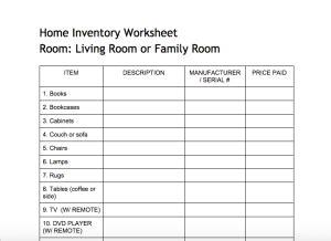free printable home inventory checklist pdf