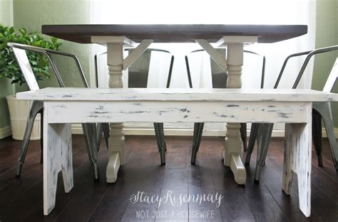 white dining bench white distressed bench stacy risenmay