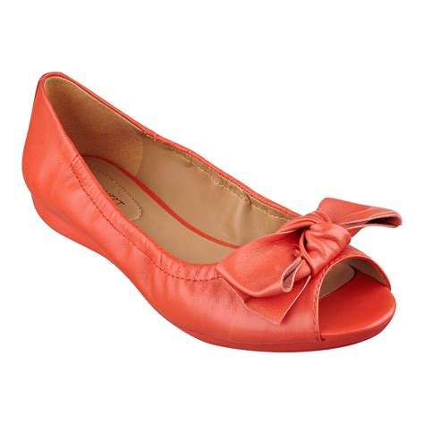 peep toe flats nine west rochelle peep toe flats in orange orange