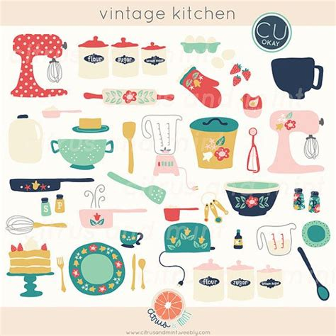 Vintage Kitchen Clipart by Vintage Kitchen Clip Baking Digital