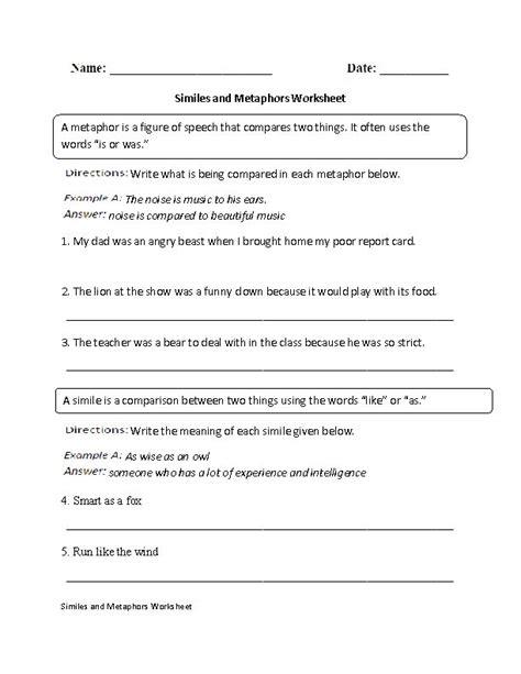 Metaphors Worksheets by Similes And Metaphors Worksheet Englishlinx Board