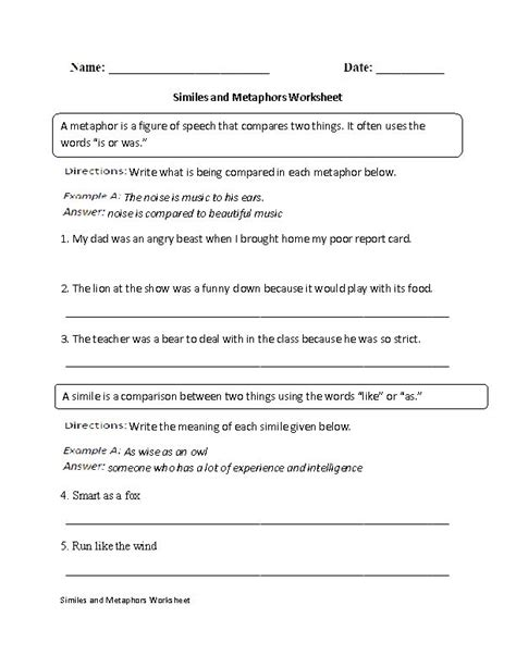 Simile And Metaphor Worksheet by Similes And Metaphors Worksheet Englishlinx Board