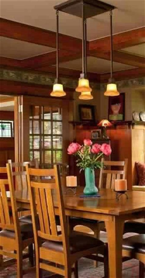 Craftsman Lighting Dining Room Arts Crafts Bungalow Dining Room Craftsman Craftsman Style Homes