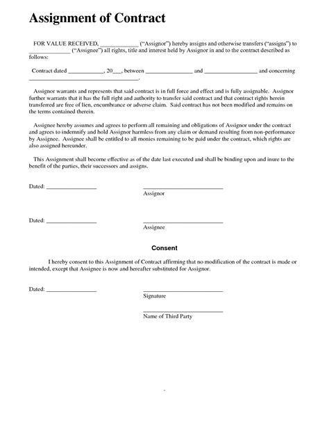 Contract New Contract Assignment Form Contract Assignment Form Assignment Contract Template