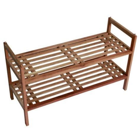 2 tier stackable lattice design walnut wooden shoe rack