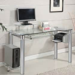 Mainstays Glass Top Desk Clear Glass Clear Chrome Silver Chrome Accent Side Shelf
