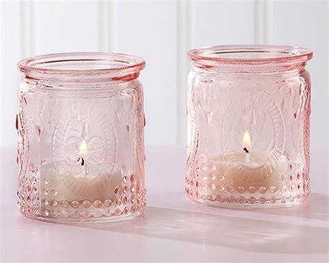 vintage tea light holders glass candle gift set vanilla tea vintage design embossed pink glass tea light candle