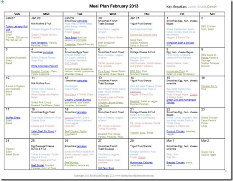 february 2013 monthly meal plan confessions of a