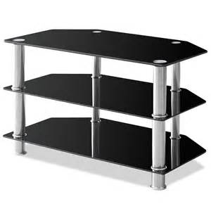 tv stand glass black entertainment system storage 3 tier 2