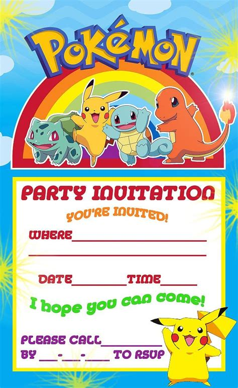 printable themed party invitations free printable pokemon birthday party invitations party