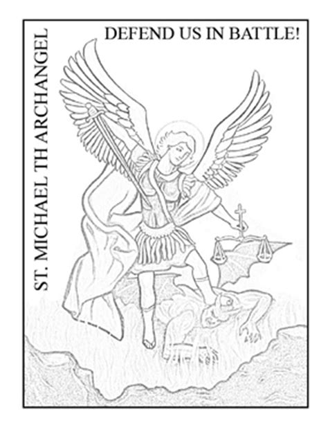 saint michael the archangel drawing sketch coloring page