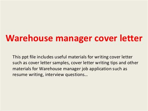 warehouse manager cover letter warehouse manager cover letter