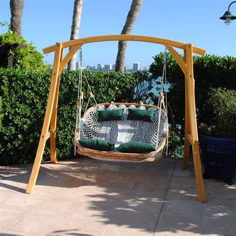 yard swing double outdoor swing with footrest and cypress stand