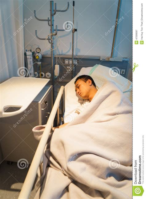 man in hospital bed man in hospital bed asleep stock photo image 47599597