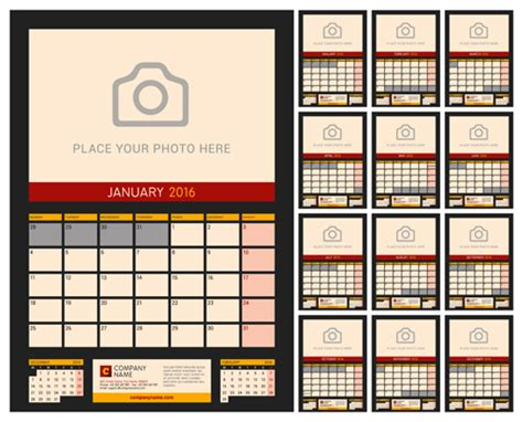 design table calendar 2016 desk calendar 2016 with your photo vector 06 vector