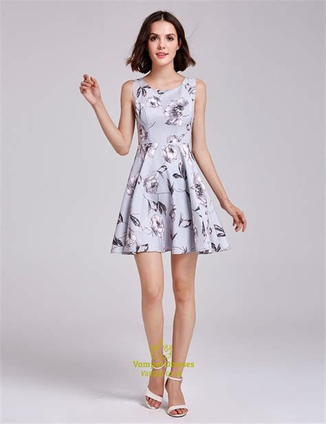 lovely printing dress 0031 lovely sleeveless a line floral print dress with