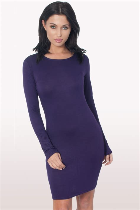 Dress Bodycon Stripe Blue Purple Reqame purple sleeve bodycon dress dresses modamore