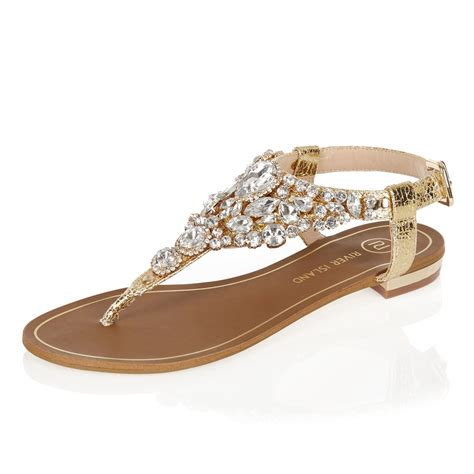 flat embellished sandals river island gold metallic embellished sandals in brown lyst