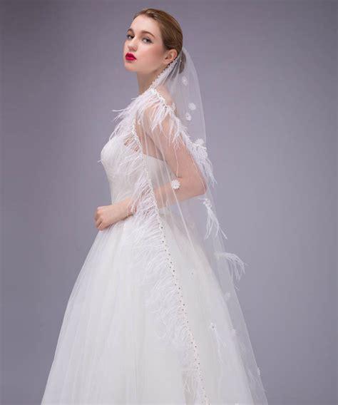 Feather Wedding Veil white bridal veil floor length gorgeous feather decorated