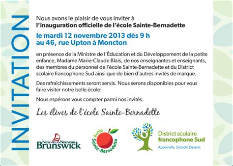 Exemple De Lettre D Invitation A Une Inauguration Modele Invitation Inauguration Ecole Document