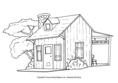 farm house colouring page
