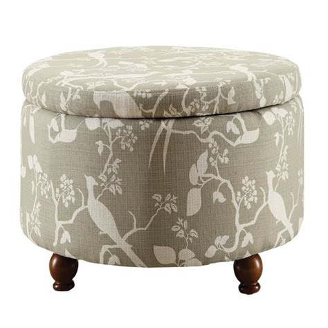 printed ottoman coaster round storage ottoman in floral print pattern 500060