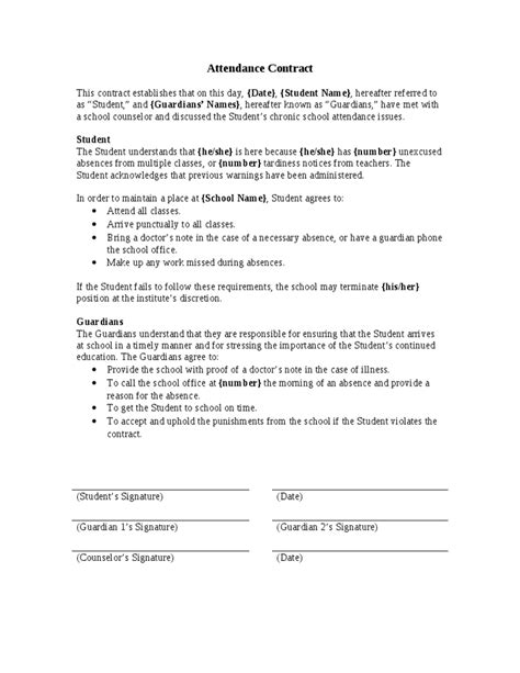 Agreement Letter Between Student And Attendance Contract Hashdoc