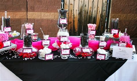 Hot Pink Black And White Custom Candy Buffet By Sweet I Pink And Black Buffet