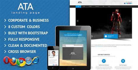 Ata Business Corporate Landing Page Template By Dotstheme Themeforest Business Landing Page Template