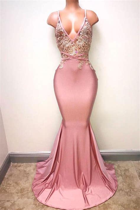 Dress Mermaid Pink pink v neck mermaid prom dress pink mermaid evening dress dresstby