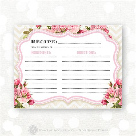 blank recipe cards for bridal shower recipe cards printable bridal shower pink flowers chevron