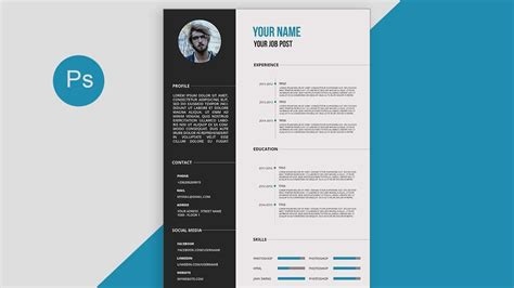 Cv Resume Template Design Tutorial With Photoshop Free Psd Docs Pdf Youtube Free Photoshop Resume Templates