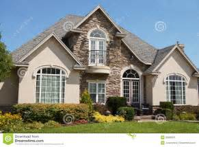 Average Size Of A 4 Bedroom House Stucco Stone House Pretty Windows Royalty Free Stock Image