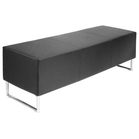 blockette bench seat in black faux leather with chrome legs