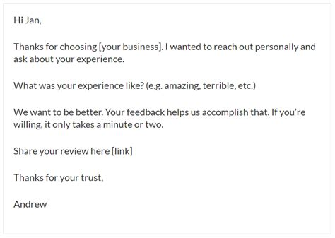 How To Get More 5 Star Online Reviews For Your Business Ask For Review Email Template