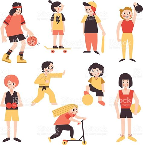imagenes tipo vector minimalistas deportes de estilo de dibujos animados vector