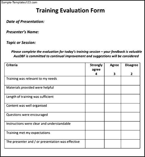 sle training evaluation form exle leadership