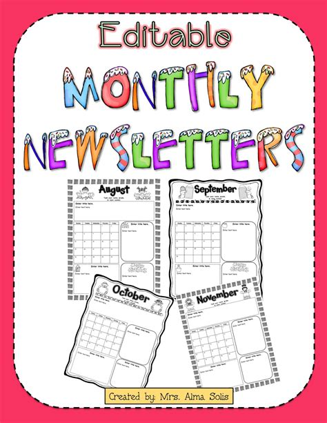 Mrs Solis S Teaching Treasures Monthly Newsletters Editable Monthly Preschool Newsletter Template