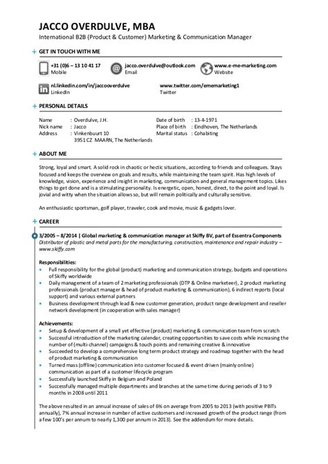 How To List Part Time Mba On Resume by Resume Of Jacco Overdulve Readily Available For A Senior