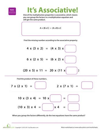 properties of multiplication associative math ideas