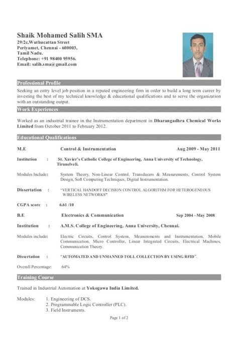 engineering resume sles for freshers sle resume for fresher mechanical engineering student