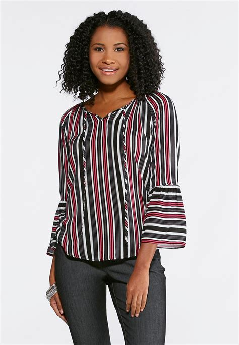 Striped Bell Sleeve Shirt striped bell sleeve top shirts blouses cato fashions