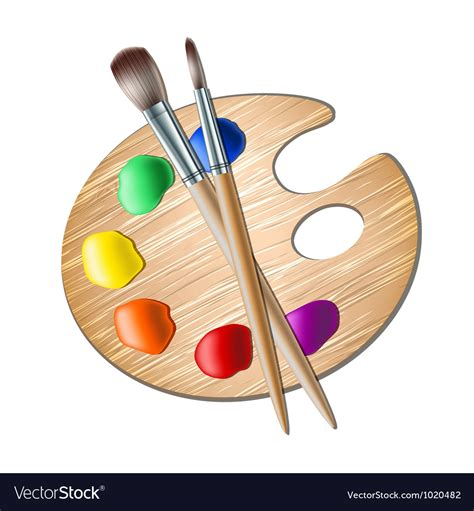 Painting Palette palette with paint brush for drawing vector image